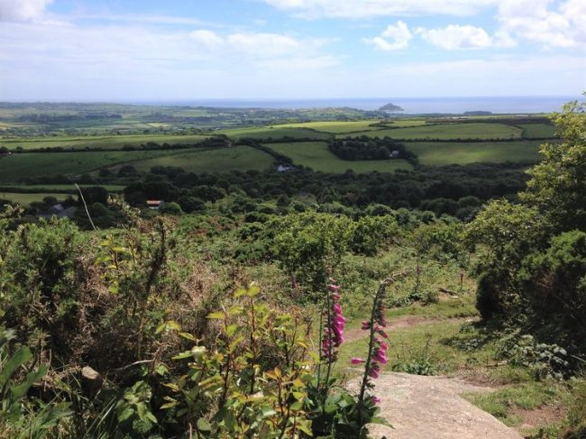 View towards St Michael's Mount from Trencrom Hill, Cornwall, UK. St Michael's Way hike.
