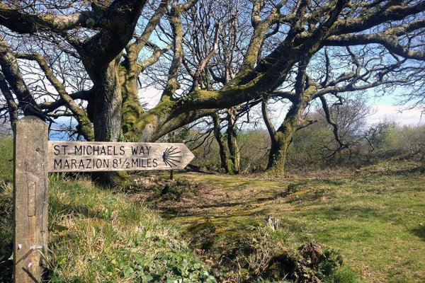 The St Michael's Way finger post - Marazion 8.5 miles.