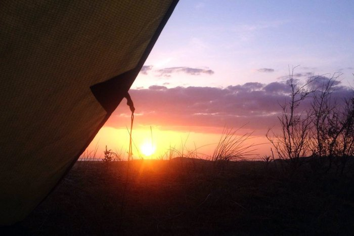Sunrise. Wild camp on the Norfolk Coast Path and Peddars Way National Trail, 2018. Copyright Stephanie Boon, 2018. All Rights Reserved.