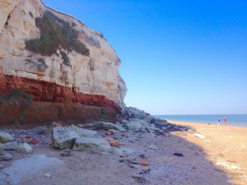 Red and white cliffs in Hunstanton UK. Norfolk Coast Path National Trail. Copyright Stephanie Boon, 2018. All Rights Reserved