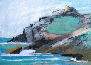 Pastel sketch of Chapel Porth Cliffs, Cornwall, UK. Copyright Stephanie Boon, 2018