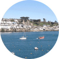 Fowey seen from across the river at Polruan, Cornwall, UK