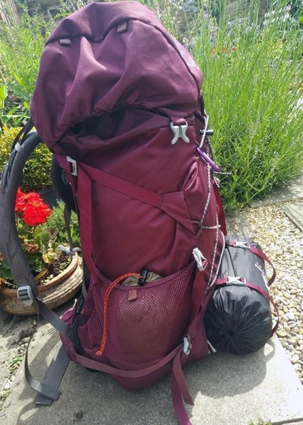 Side view of the rucksack standing on the ground