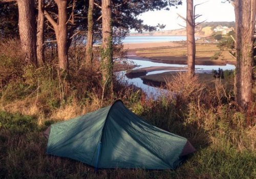 Wild camping above a nature reserve in Devon, UK. Copyright Stephanie Boon 2019, all rights reserved