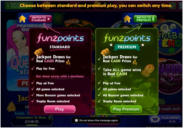 How to play at Funzpoints Casino to win real cash-Play standard or Premium
