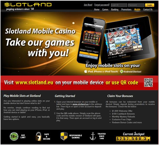 Slotland no deposit