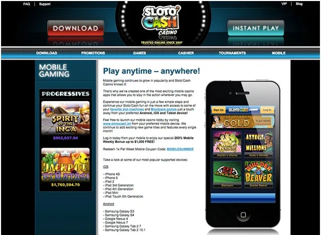Slotocash casino- Download or Instant play
