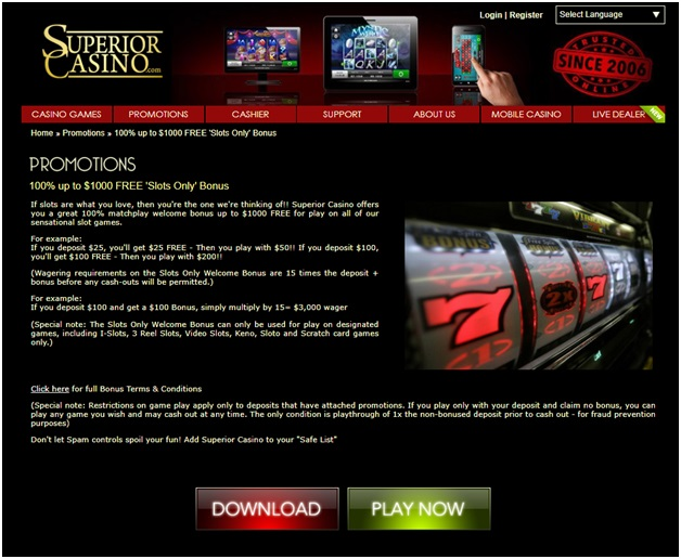 superior casino- welcome bonus
