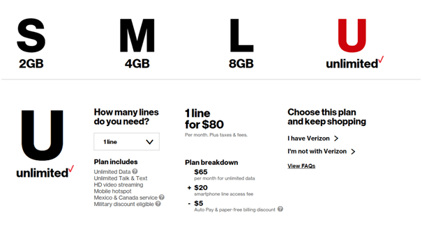Unlimited plan from Verizon