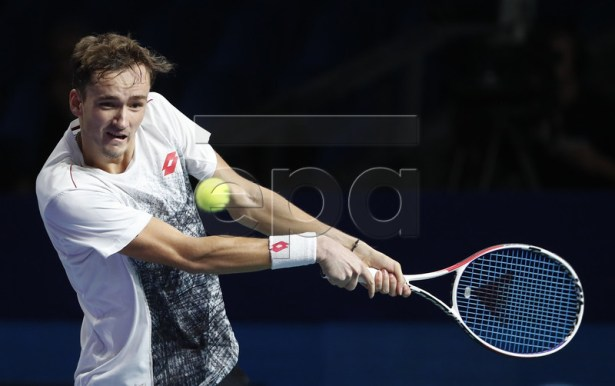 Medvedev Daniil of Russia in action during his men's second round match against Dusan Lajovic of Serbia at the Kremlin Cup tennis tournament in Moscow, Russia, 18 October 2018.  EPA-EFE/MAXIM SHIPENKOV