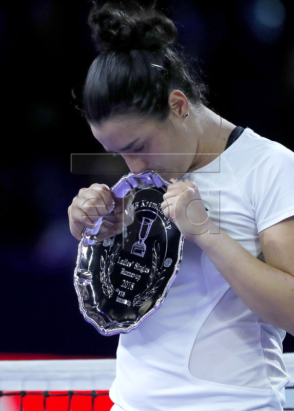 Ons Jabeur of Tunisia reacts with her trophy during award ceremony of the Kremlin Cup tennis tournament in Moscow, Russia, 20 October 2018.  EPA-EFE/SERGEI ILNITSKY