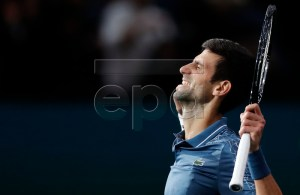 Novak Djokovic of Serbia celebrates winning his quarter final match against Marin Cilic of Croatia at the Rolex Paris Masters tennis tournament in Paris, France, 02 November 2018. EPA-EFE/IAN LANGSDON