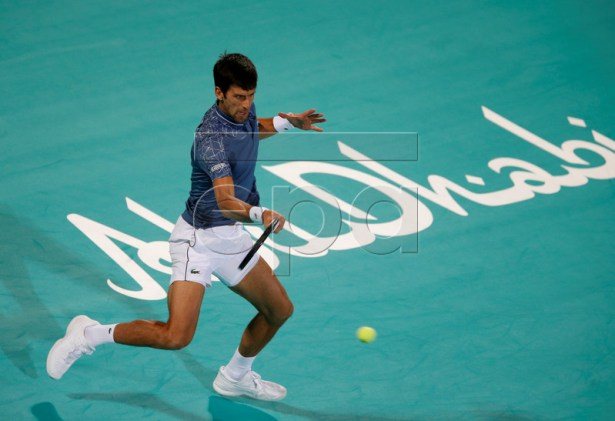 Novak Djokovic of Serbia in action during the final match against Kevin Anderson of South Africa at the Mubadala World Tennis Championship 2018 in Abu Dhabi, United Arab Emirates, 29 December 2018.  EPA-EFE/ALI HAIDER