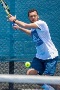 Jo-Wilfried Tsonga of France in action during a training session at the Pat Rafter Arena ahead of the Brisbane International in Brisbane, Australia, 30 December 2018. The Brisbane International will run from 30 December 2018 to 06 January 2019.  EPA-EFE/GLENN HUNT