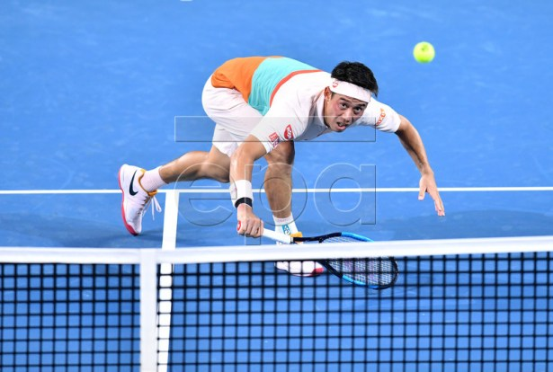 Kei Nishikori of Japan in action during his quarter final match against Grigor Dimitrov of Bulgaria at the Brisbane International tennis tournament at the Queensland Tennis Centre in Brisbane, Australia, 03 January 2019.  EPA-EFE/DARREN ENGLAND AUSTRALIA AND NEW ZEALAND OUT  EDITORIAL USE ONLY