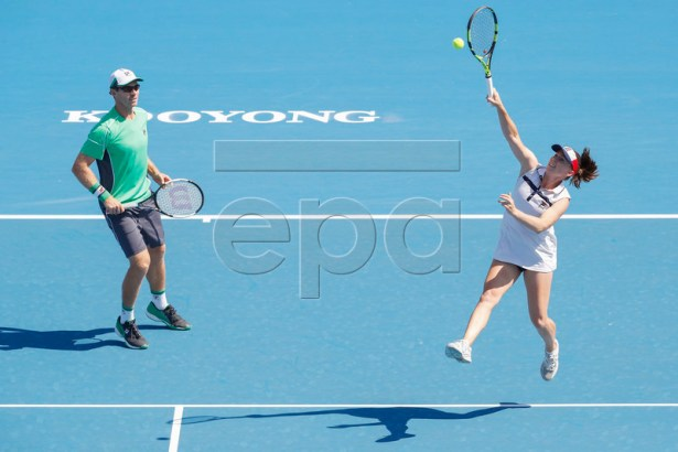 John Peers (L) and Sally Peers (R) of Australia play mixed doubles against Bernard Tomic and Sara Tomic of Australia during match four of Kooyong Classic tennis tournament at Kooyong Lawn Tennis Club in Melbourne, Australia, 08 January 2019.  EPA-EFE/DANIEL POCKETT AUSTRALIA AND NEW ZEALAND OUT