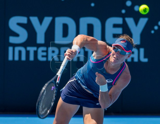 Samantha Stosur of Australia in action against Timea Bacsinszky of Switzerland at the Sydney International tennis tournament at Sydney Olympic Park Tennis Centre in Sydney, Australia, 09 January 2019. EPA-EFE/CRAIG GOLDING AUSTRALIA AND NEW ZEALAND OUT