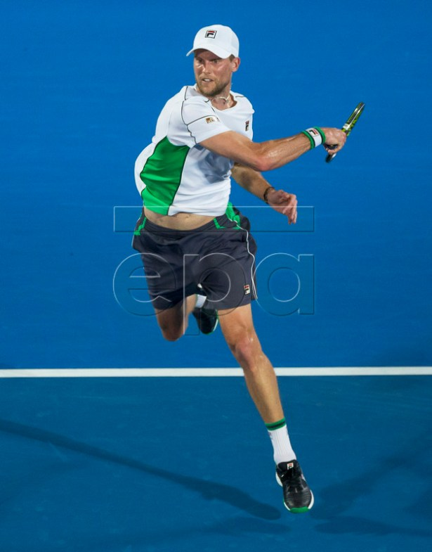 Andreas Seppi of Italy in action against Alex de Minaur of Australia during their men's singles final of the Sydney International tennis tournament at Sydney Olympic Park Tennis Centre in Sydney, Australia, 12 January 2019.  EPA-EFE/CRAIG GOLDING AUSTRALIA AND NEW ZEALAND OUT