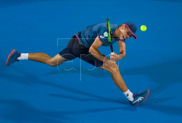 Alex de Minaur of Australia in action against Andreas Seppi of Italy during their men's singles final of the Sydney International tennis tournament at Sydney Olympic Park Tennis Centre in Sydney, Australia, 12 January 2019.  EPA-EFE/CRAIG GOLDING AUSTRALIA AND NEW ZEALAND OUT