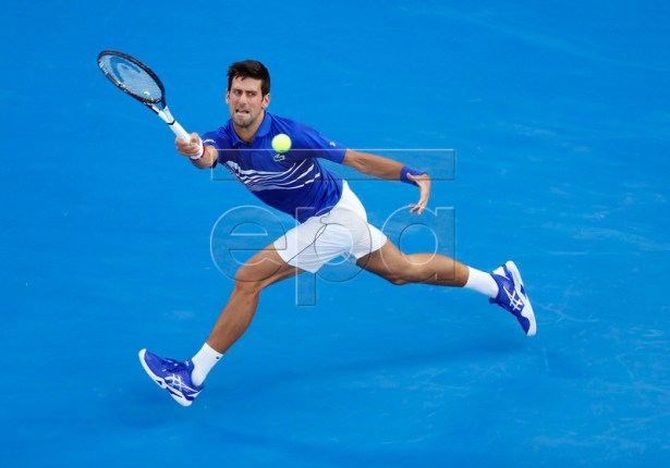 Novak Djokovic of Serbia in action during his men's singles first round match against Mitchell Krueger of the USA at the Australian Open Grand Slam tennis tournament in Melbourne, Australia, 15 January 2019.  EPA-EFE/RITCHIE TONGO