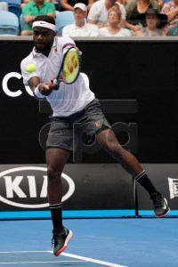 Frances Tiafoe of the USA in action against Kevin Anderson of South Africa during their second round men's singles match at the Australian Open Grand Slam tennis tournament in Melbourne, Australia, 16 January 2019. EPA-EFE/MARK DADSWELL AUSTRALIA AND NEW ZEALAND OUT