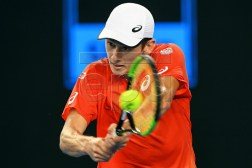 Alex de Minaur of Australia in action against Henri Laaksonen of Switzerland during their men's second round match at the Australian Open tennis tournament in Melbourne, Australia, 16 January 2019. EPA-EFE/JULIAN SMITH AUSTRALIA AND NEW ZEALAND OUT