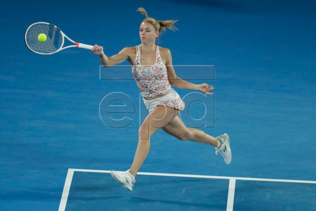 Camila Giorgi of Italy in action during her round three women's singles match against Karolina Pliskova of Czech Republic at the Australian Open Grand Slam tennis tournament in Melbourne, Australia, 19 January 2019. EPA-EFE/LYNN BO BO