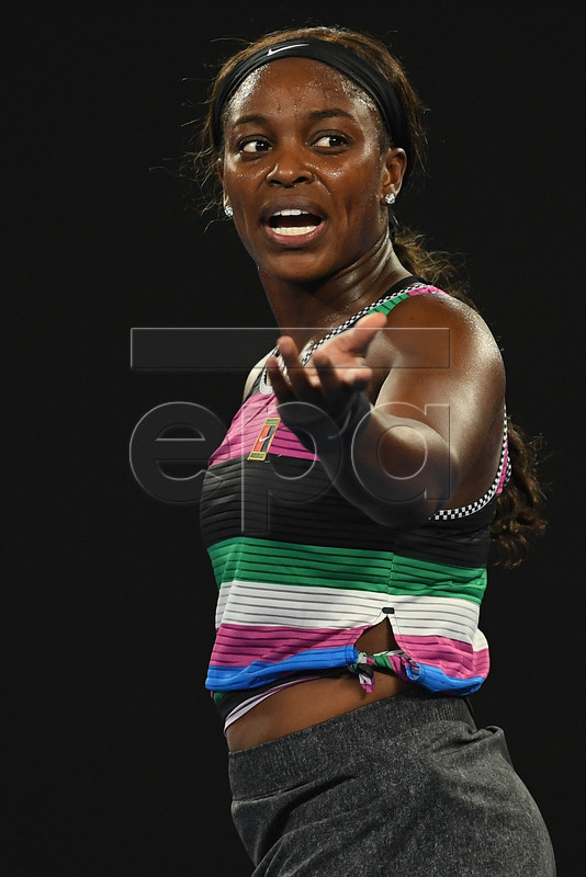 Sloane Stephens of the United States reacts during her women's singles fourth round match against Anastasia Pavlyuchenkova of Russia at the Australian Open Grand Slam tennis tournament in Melbourne, Australia, 20 January 2019.  EPA-EFE/LUKAS COCH AUSTRALIA AND NEW ZEALAND OUT