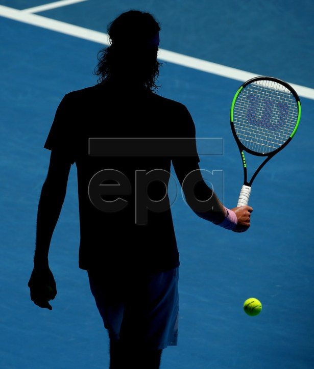 Stefanos Tsitsipas of Greece during his men's singles quarter final match against Roberto Bautista Agut of Spain at the Australian Open Grand Slam tennis tournament in Melbourne, Australia, 22 January 2019.  EPA-EFE/HAMISH BLAIR AUSTRALIA AND NEW ZEALAND OUT