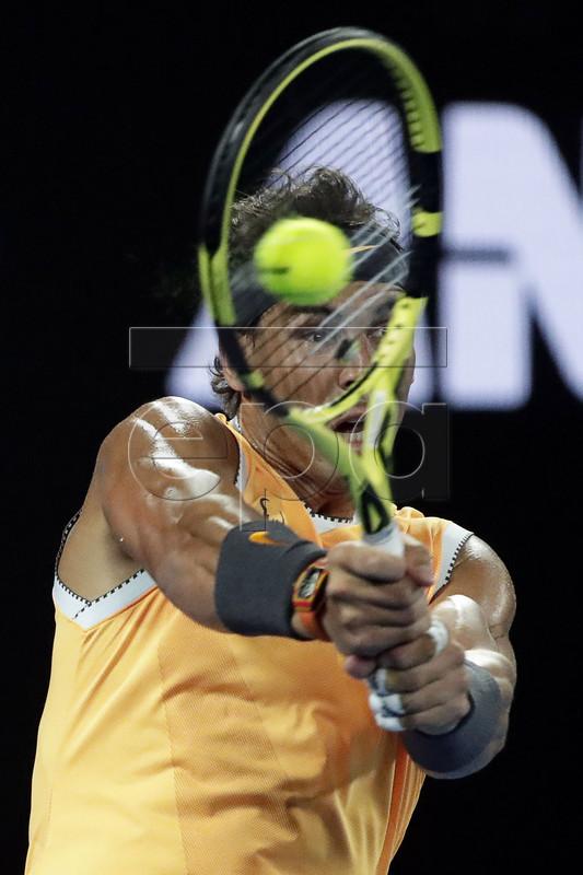 Rafael Nadal of Spain in action during his men's singles quarter final match against Frances Tiafoe of the USA at the Australian Open Grand Slam tennis tournament in Melbourne, Australia, 22 January 2019.  EPA-EFE/MAST IRHAM
