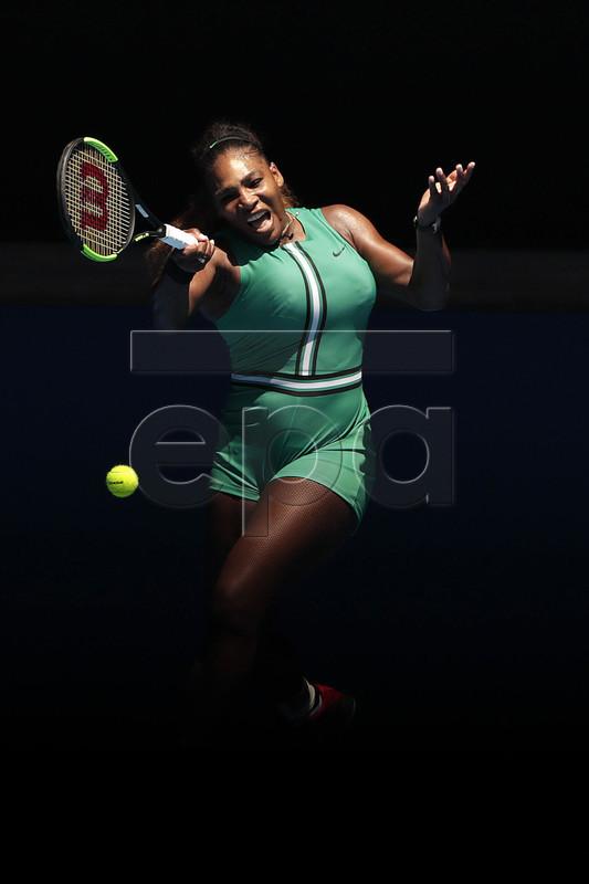 Serena Williams of the United States in action against Karolina Pliskova of Czech Republic during their women's singles quarter-final match on day 10 of the Australian Open Grand Slam tennis tournament in Melbourne, Australia, 23 January 2019. EPA-EFE/LYNN BO BO