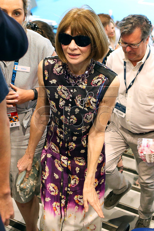 US fashion editor Anna Wintour leaves after the men's singles semi final match between Novak Djokovic of Serbia and Lucas Pouille of France at the Australian Open Grand Slam tennis tournament in Melbourne, Australia, 25 January 2019.  EPA-EFE/DAVID CROSLING AUSTRALIA AND NEW ZEALAND OUT