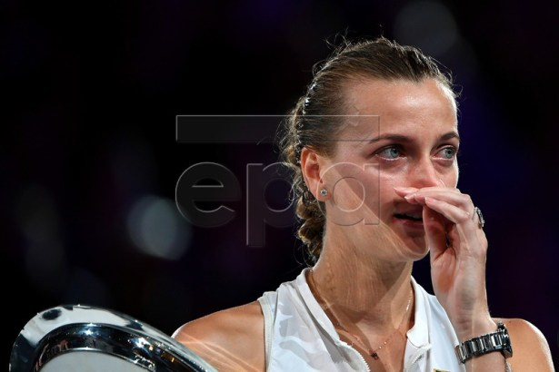 Petra Kvitova of the Czech Republic reacts after being defeated by Naomi Osaka of Japan in the women's singles final at the Australian Open Grand Slam tennis tournament in Melbourne, Australia, 26 January 2019.  EPA-EFE/JULIAN SMITH EDITORIAL USE ONLY AUSTRALIA AND NEW ZEALAND OUT