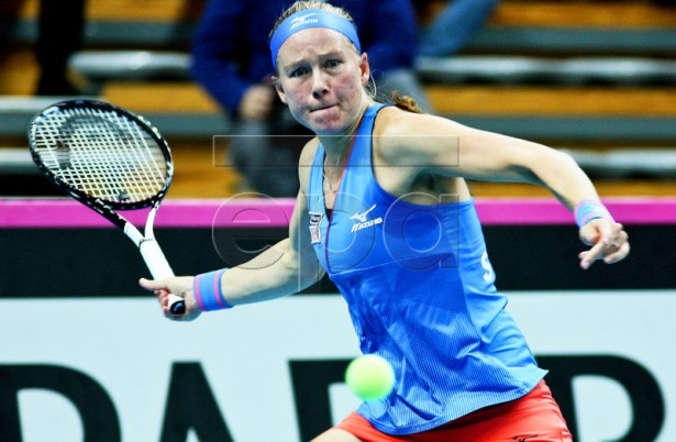 Johanna Larsson of Sweden in action against Natalia Vikhlyantseva of Russia during the Fed Cup Europe/Africa group I playoff tie between Russia and Sweden in Zielona Gora, Poland, 09 February 2019.  EPA-EFE/LECH MUSZYNSKI POLAND OUT