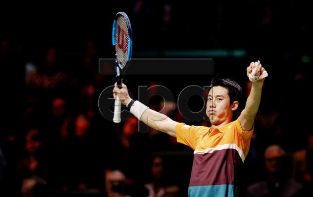Japanese Kei Nishikori celebrates winning the match against Ernests Gulbis from Latvia at the ABN AMRO World Tennis Tournament in Rotterdam, The Netherlands, 14 February 2019.  EPA-EFE/ROBIN VAN LONKHUIJSEN