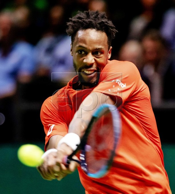 Gael Monfils of France during the final against Stan Wawrinka of Switzerland at the ABN AMRO World Tennis Tournament in Rotterdam, The Netherlands, 16 February 2019.  EPA-EFE/Robin van Lonkhuijsen