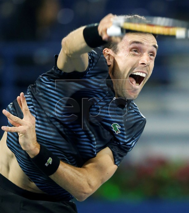 Roberto Bautista Agut of Spain in action during his first round match against Ramkumar Ramanathan of India at the Dubai Duty Free Tennis ATP Championships 2019 in Dubai, United Arab Emirates, 25 February 2019.  EPA-EFE/ALI HAIDER