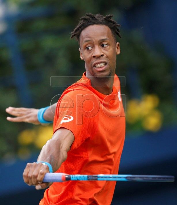 Gael Monfils of France in action during his semi final match against Stefanos Tsitsipas of Greece at Dubai Duty Free Tennis ATP Championships 2019 in Dubai, United Arab Emirates, 01 March 2019.  EPA-EFE/ALI HAIDER