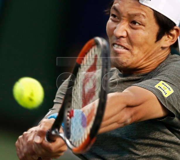 Tatsuma Ito of Japan in action against Jared Donaldson of United States during the BNP Paribas Open tennis tournament at the Indian Wells Tennis Garden in Indian Wells, California, USA, 08 March 2019. The men's and women's final will be played on 17 March 2019.  EPA-EFE/LARRY W. SMITH