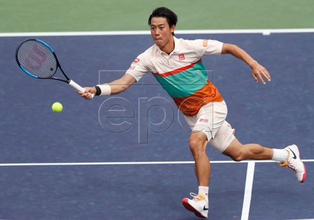 Kei Nishikori of Japan in action against Adrian Mannarino of France during the BNP Paribas Open tennis tournament at the Indian Wells Tennis Garden in Indian Wells, California, USA, 10 March 2019. The men's and women's final will be played, 17 March 2019.  EPA-EFE/JOHN G. MABANGLO