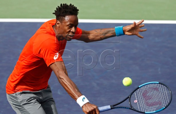 Gael Monfils of France in action against Albert Ramos-Vinolas of Spain during the BNP Paribas Open tennis tournament at the Indian Wells Tennis Garden in Indian Wells, California, USA, 11 March 2019. The men's and women's final will be played, 17 March 2019.  EPA-EFE/LARRY W. SMITH