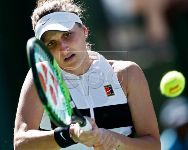 Marketa Vondrousova of Czech Republic in action against Simona Halep of Romania during the BNP Paribas Open tennis tournament at the Indian Wells Tennis Garden in Indian Wells, California, USA, 12 March 2019. The men's and women's final will be played, 17 March 2019. EPA-EFE/LARRY W. SMITH