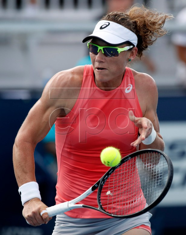 Samantha Stosur of Australia in action against Evgeniya Rodina of Russia during their match at the Miami Open tennis tournament in Miami, Florida, USA, 20 March 2019.  EPA-EFE/JASON SZENE
