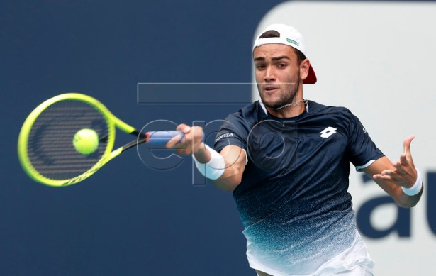 Matteo Berrettini of Italy in action against Hubert Hurkacz of Poland during their first round match at the Miami Open tennis tournament in Miami, Florida, USA, 21 March 2019.  EPA-EFE/RHONA WISE