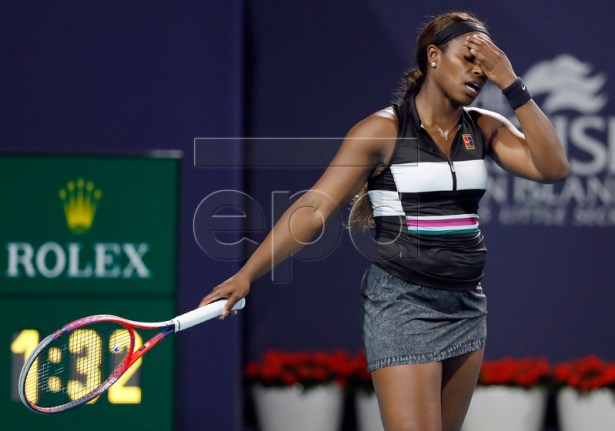 Sloane Stephens of the USA reacts against Tatjana Maria of Germany during their match at the Miami Open tennis tournament in Miami, Florida, USA, 24 March 2019.  EPA-EFE/RHONA WISE