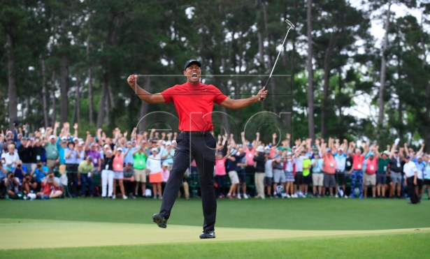 Tiger Woods of the US celebrates after winning the 2019 Masters Tournament at the Augusta National Golf Club in Augusta, Georgia, USA, 14 April 2019. The 2019 Masters Tournament is held 11 April through 14 April 2019. EPA-EFE/TANNEN MAURY