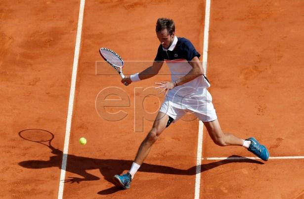 Daniil Medvedev of Russia in action during his quarterfinal match against Novak Djokovic of Serbia at the Monte-Carlo Rolex Masters tournament in Roquebrune Cap Martin, France, 19 April 2019.  EPA-EFE/SEBASTIEN NOGIER