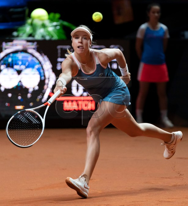 Anett Kontaveit of Estonia in action during her quarter finale match against Victoria Azarenka of Belarus at the Porsche Tennis Grand Prix tournament in Stuttgart, Germany, 26 April 2019. EPA-EFE/RONALD WITTEK
