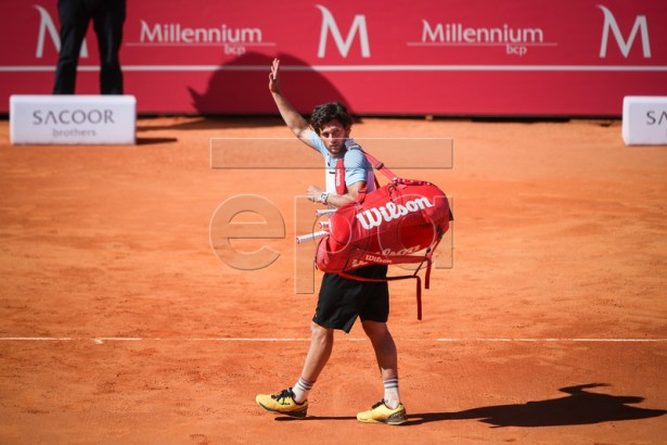 Pedro Sousa from Portugal reacts after losing his first round match against Rilley Opelka of the USA at the Estoril Open Tennis tournament in Cascais, on the outskirts of Lisbon, Portugal, 29 April 2019.  EPA-EFE/JOSE SENA GOULAO