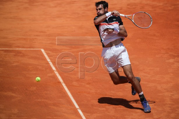 Jeremy Chardy from France in action during his first round match against Pablo Carreno-Busta from Spain at the Estoril Open Tennis tournament in Cascais, near Lisbon, Portugal, 30 April 2019.  EPA-EFE/JOSE SENA GOULAO